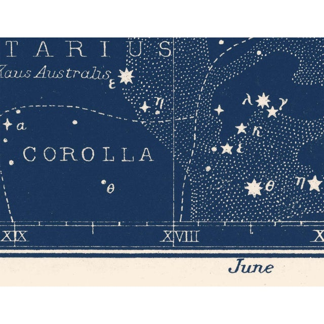 Boho Chic Large Antique Nautical Blue Constellation Celestial Print For Sale - Image 3 of 4
