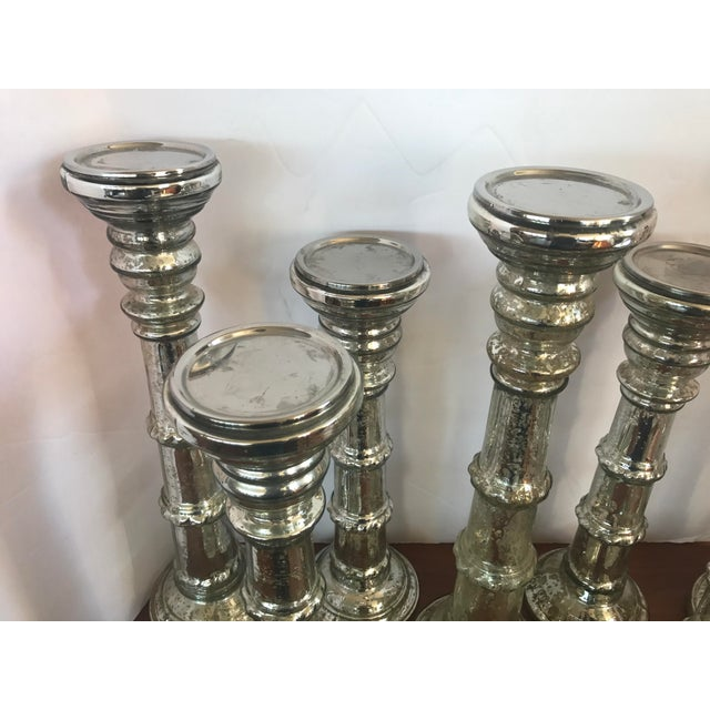 Mercury Glass Candleholders Candlesticks - Set of 7 For Sale - Image 4 of 7