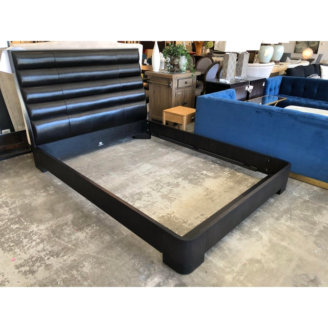 Baker Furniture Company Baker Tashmarine Queen Bed by Jean Lousi Deniot Black Leather and Mink Black Frame For Sale - Image 4 of 7