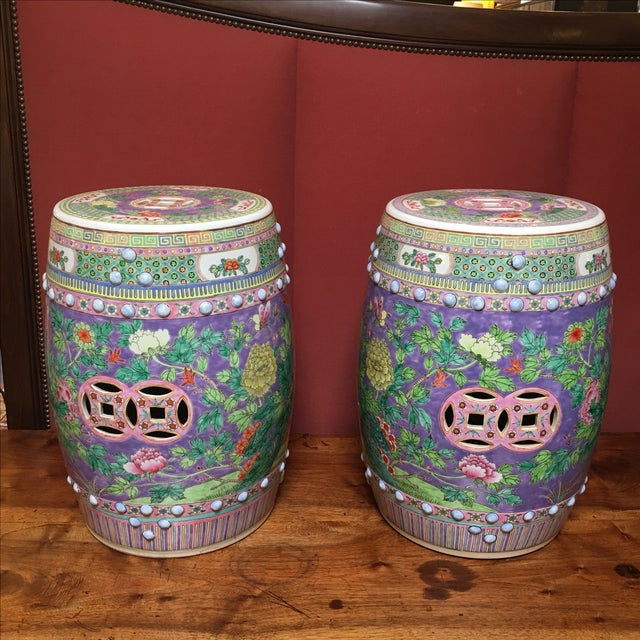 Pastel Colored Chinese Garden Stools - A Pair - Image 2 of 10