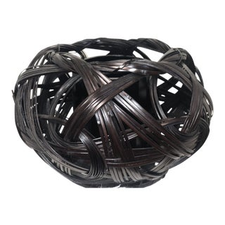 Japanese Style Bamboo Flower Basket For Sale