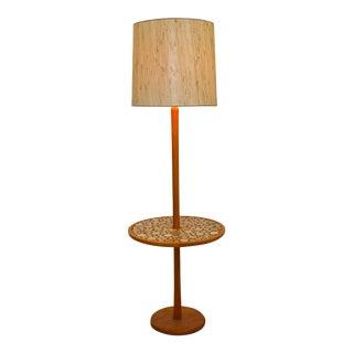 Mid Century Modern Gordon & Jane Martz Coral Tile & Teak Floor Lamp Table 1960s For Sale