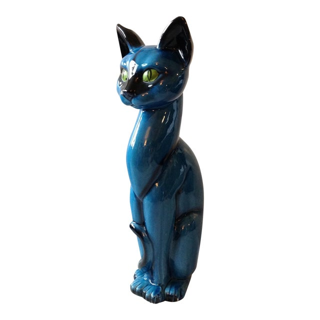 Mid-Century Modern Blue Ceramic Pottery Cat For Sale