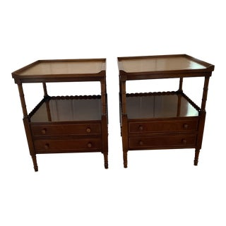Baker Furniture Two Tier Side Tables - a Pair For Sale