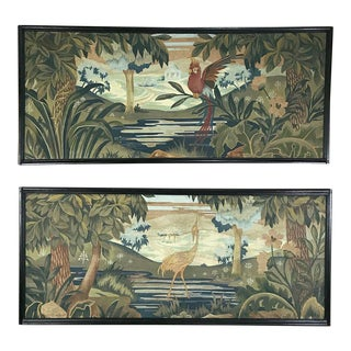Pair Art Deco Period Flemish Framed Tapestries For Sale