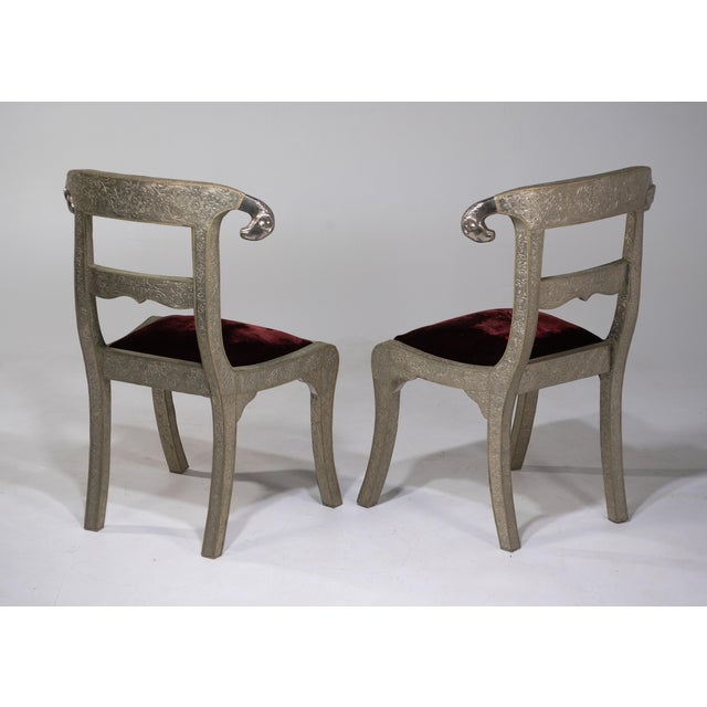 Glam Pair of Anglo Indian Regency Style Rams Head Side Chairs For Sale - Image 4 of 13