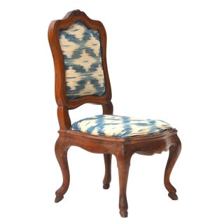 Antique Wood Upholstered Slipper Chair For Sale