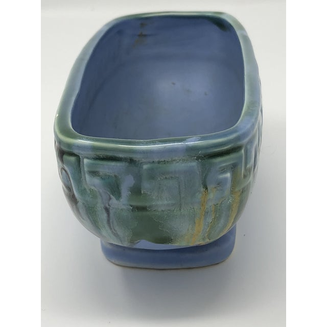 Boho Chic Mid-Century McCoy Greek Key Drip Glaze Window Planter For Sale - Image 3 of 8