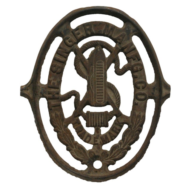 Antique Singer Sewing Cast Iron Logo For Sale