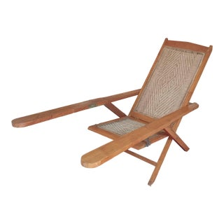Teak Wood Cane Woven Planters Fisherman's Chair For Sale