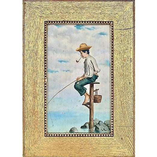 White Young Man Fishing, Naples, 1880s For Sale - Image 8 of 8