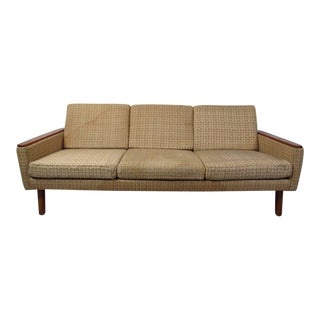 Scandinavian Modern Three-Seat Sofa With Teak Armrests For Sale