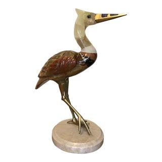 Semi-Precious Stone & Brass Crane Figure For Sale