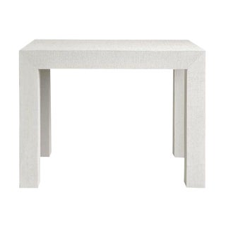 Bungalow5 White Grass Cloth Parsons Side Table