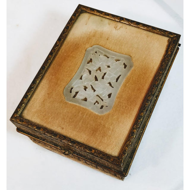 20th Century Chinese Jade Velvet Trinket Jewelry Box For Sale - Image 4 of 10