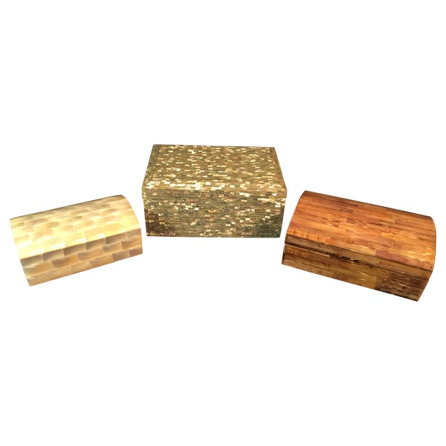 Tessellated Sea Shell Dresser Boxes - Set of 3 - Image 1 of 9