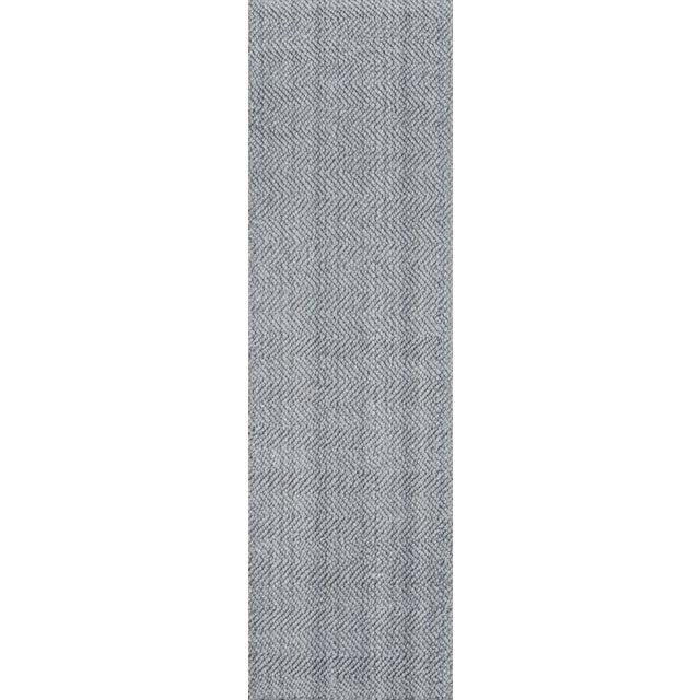 "Erin Gates by Momeni Ledgebrook Washington Grey Runner Hand Woven Area Rug - 2'3"" X 8' For Sale"