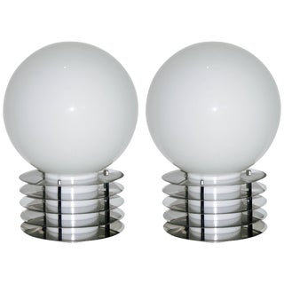 1960s Italian Modern Double-Lit White Glass and Chrome Round Table Lamps - a Pair For Sale