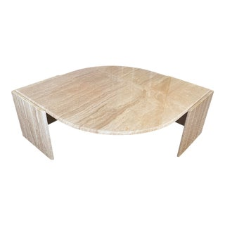 Travertine Teardrop Shape Cocktail Table For Sale