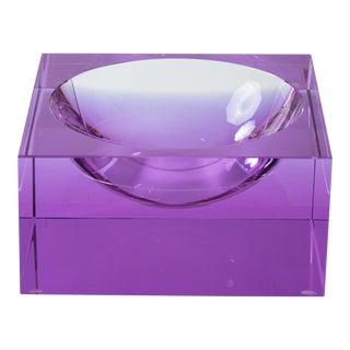 Veritas Lavender Concave Glass Square Vide Poche For Sale