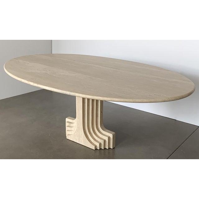 "1970s Carlo Scarpa ""Samo"" Oval Travertine Pedestal Dining Table For Sale - Image 5 of 13"