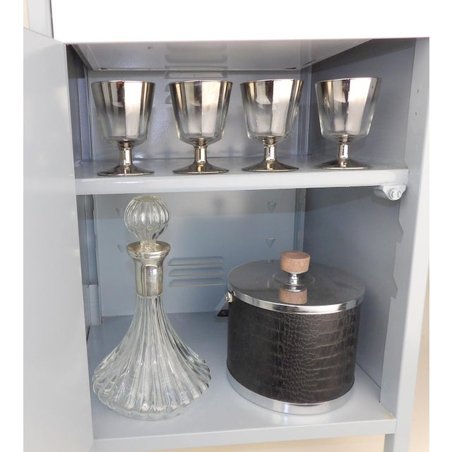 Gray White Shelf Bar Cabinet Wine Barware Storage Coffee Station For Sale - Image 9 of 11