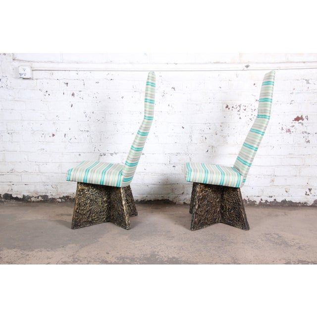 1970s Adrian Pearsall Mid-Century Brutalist High Back Side Chairs - a Pair For Sale - Image 5 of 9