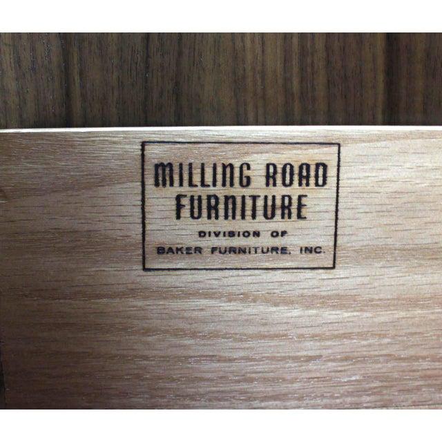 Baker Furniture Company Baker Mid-Century Modern Long Walnut Dresser Brass Hardware Pulls For Sale - Image 4 of 8