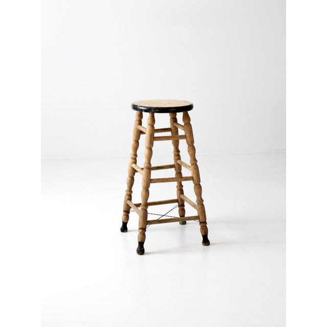 Black Antique Turned Leg Stool For Sale - Image 8 of 8