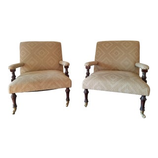 Modern Stately Bespoke Arm Chairs- A Pair For Sale