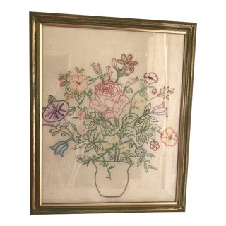 Vintage Linen Cross Stitch Still Life Bouquet For Sale