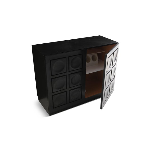 Geometric Two-Door Cabinet in Ebonized Oak For Sale - Image 4 of 9