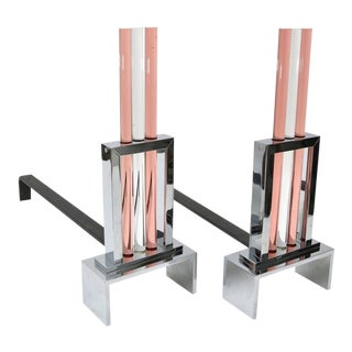 Art Deco Style Polished Chrome and Glass Fireplace Andirons - a Pair