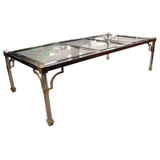 Mid-Century Modern Maison Jansen Chrome Brass Glass Coffee Table For Sale