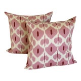 Image of Pink and White Silk Ikat Pilows - a Pair For Sale