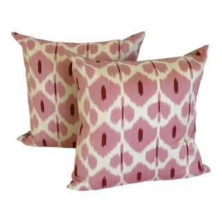 Pink and White Silk Ikat Pilows - a Pair For Sale