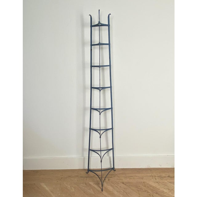 Metal Antique American Blue Iron Plate Rack For Sale - Image 7 of 7