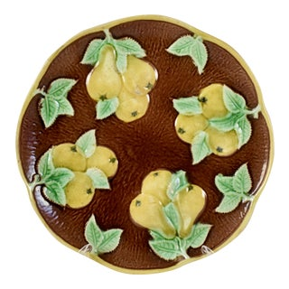English Majolica Yellow Pears Plate For Sale