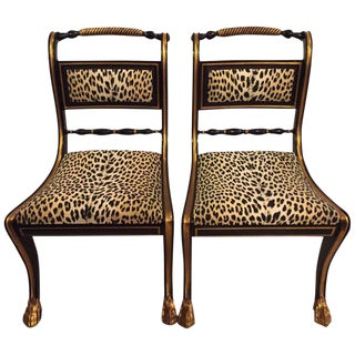 Ebonized and Gilt Gold Side Chairs - A Pair