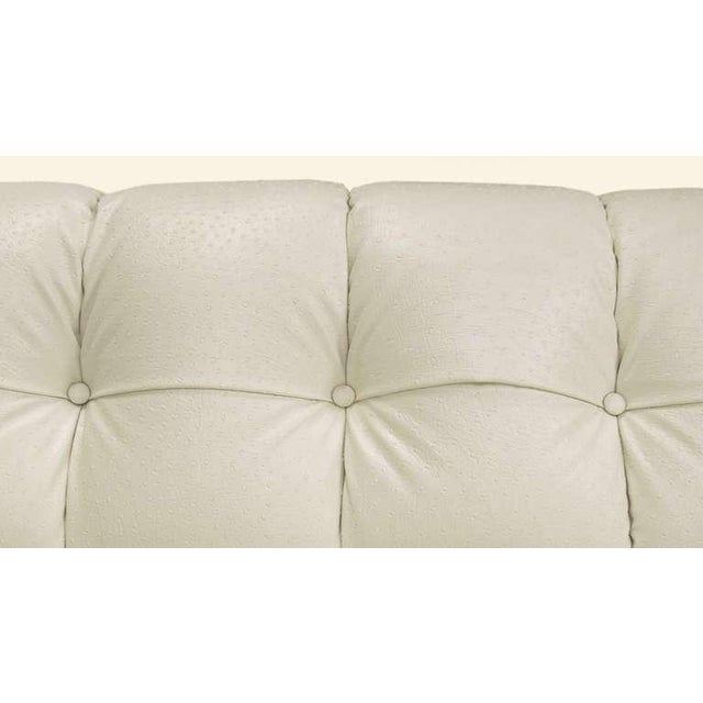Rare Bert England Button-Tufted White Ostrich Texture Sofa - Image 6 of 8