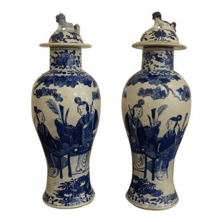 Antique Early 1800s Blue and White Jars - a Pair For Sale