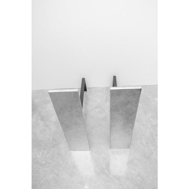 Abstract Nickel-Plated Andirons in the Style of Danny Allesandro - the Pair For Sale - Image 3 of 8