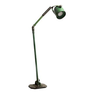 1950's Industrial Green Floor Lamp