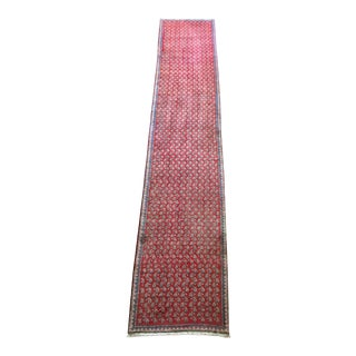 Semi-Antique Hand-Knotted Persian Mir Serabend Runner - 2′4″ × 12′1″ For Sale