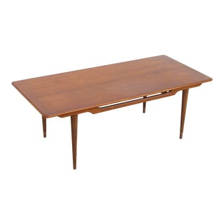 Vintage Mid Century Modern Wood Extension Coffee Table With Two Sliding Leaves For Sale