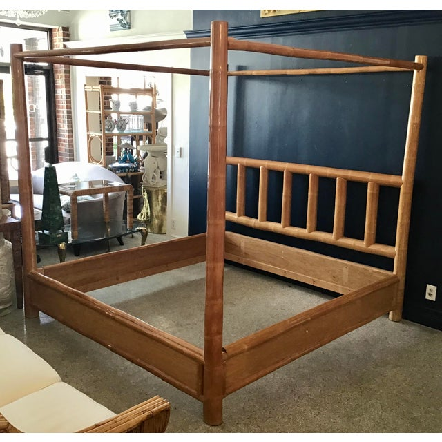 Very rare king size vintage canopy bamboo bed. Add some Boho Chic style to your bedroom.