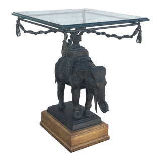 Vintage Maitland Smith Bronze, Leather & Glass Elephant Side Table For Sale