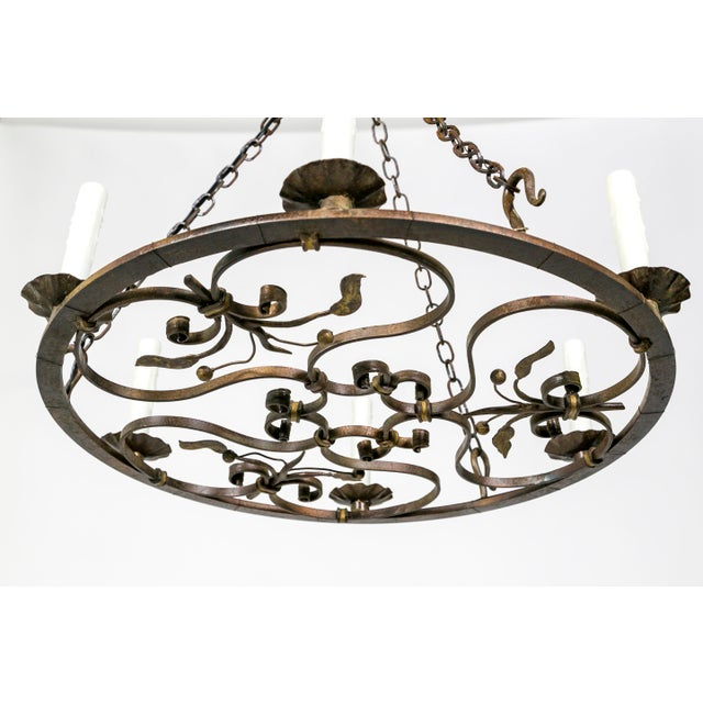 Hand Wrought Flat Leaf and Scroll Chandelier - Image 6 of 9