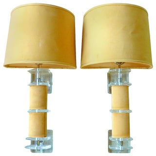 Pair of Lucite and Faux Suede Sconces For Sale