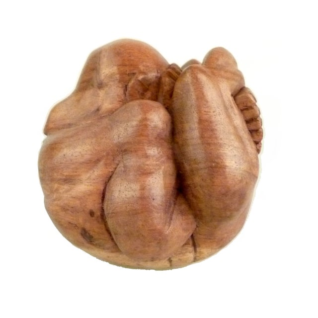 Hand-Carved Wood Man Sculpture For Sale - Image 9 of 9